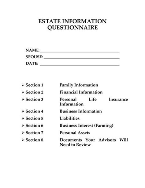 Canada Estate Planning Questionnaire Legal Forms And Business Templates Megadox Com Will And Estate Planning Template
