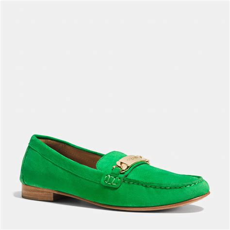 green loafers coach kimmie loafer in green lyst