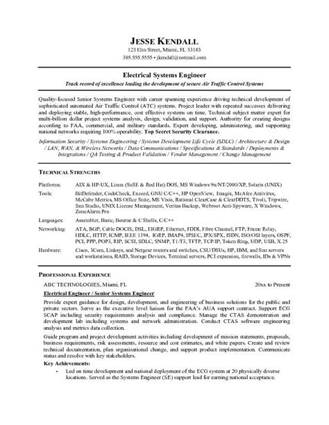 cover letter for system engineer free electrical systems engineer resume exle