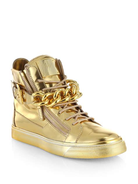 gold sneakers mens giuseppe zanotti mens metallic chain zipper high top