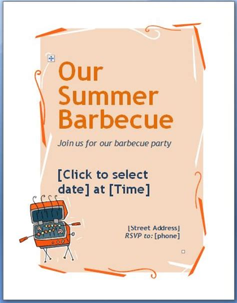 ms word family barbecue bbq invitation flyer template