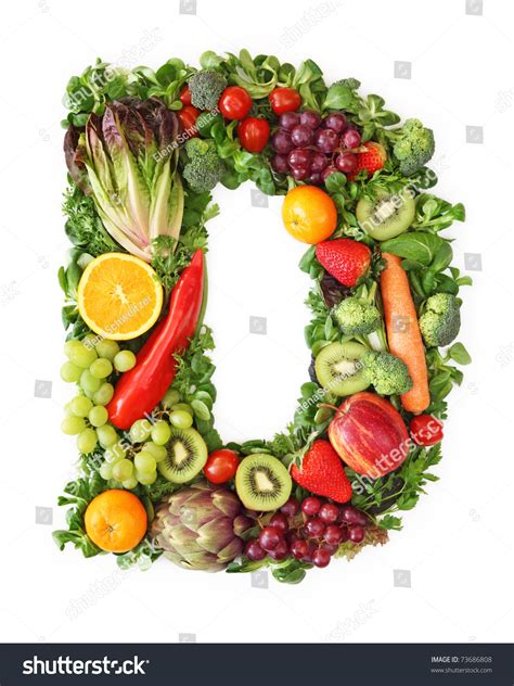 h vegetables or fruit fruit vegetable alphabet letter d stock photo 73686808