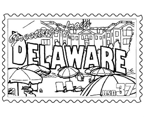 coloring book postcards usa printables delaware state st us states coloring