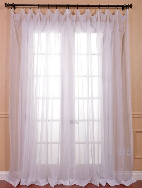 double wide curtains solid white double wide voile poly sheer curtain