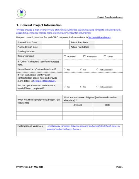 project completion report template in word and pdf formats