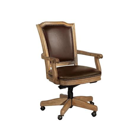 hickory office furniture hekman 7 9257c home office wood frame chocolate leather office chair discount furniture at