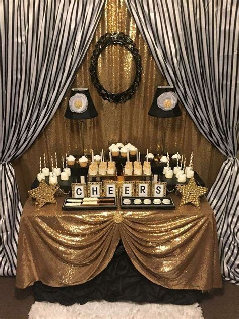 themes for gold platinum black and white stripes with gold sparkle birthday party