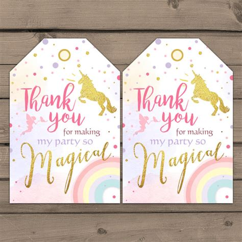 printable unicorn thank you tags unicorn favor tags unicorn birthday thank you by