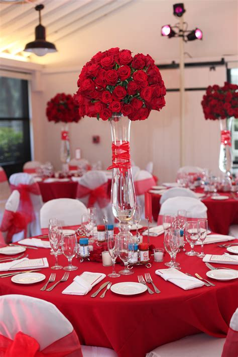 Beautiful Wedding Centerpieces With Red Flowers Roses Centerpiece
