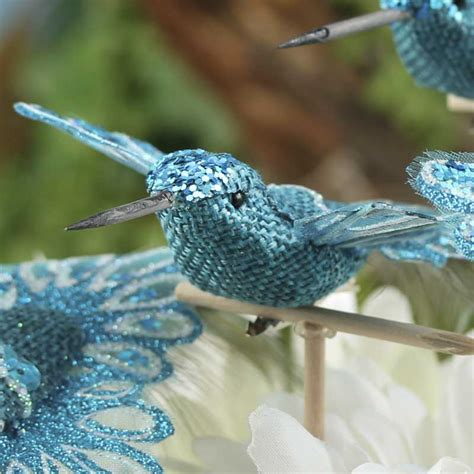 blue burlap and feather artificial hummingbirds birds
