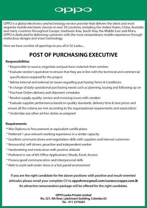 What Is The Minimum Experience Required For Executive Mba by Purchasing Executive Vacancy In Sri Lanka