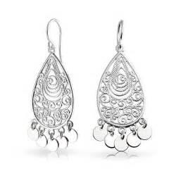 sterling silver chandelier earrings 925 sterling silver bohemian filigree chandelier earrings