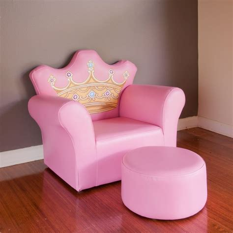 princess couch and chair kids princess crown pvc leather sofa chair in pink buy