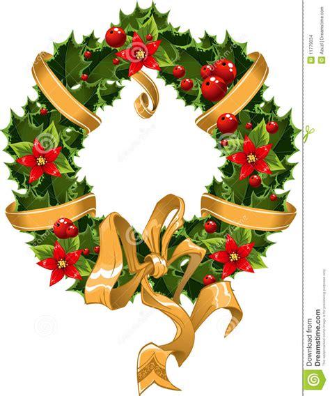 adorno verde y rojo de la navidad con la baya stock de