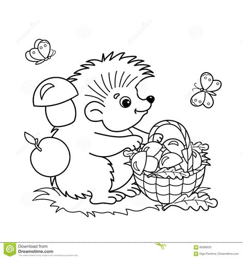 butterfly meadow coloring pages coloring page outline of cartoon hedgehog with basket of