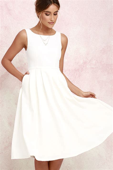 Fashion Wanita Dress Midi Dress ivory dress midi dress tulle dress white dress 79 00