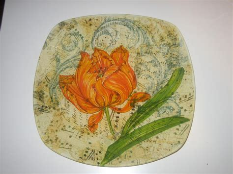 Decoupage Technique - glass plate in a decoupage technique home interior motive