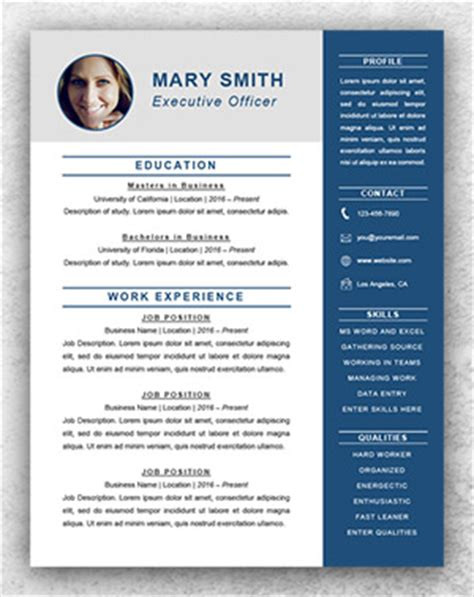 Resume Executive Template Word Resume Template Start Professional Resume Templates For Word