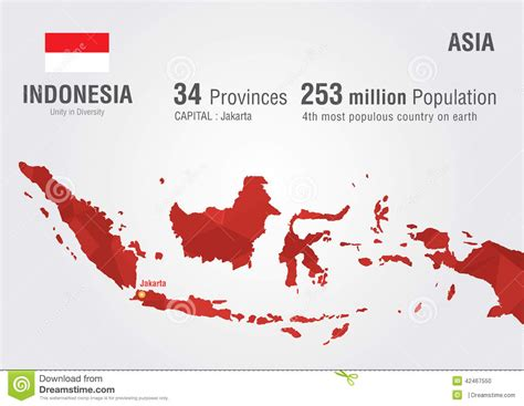 indonesia map vector indonesia world map with a pixel texture stock