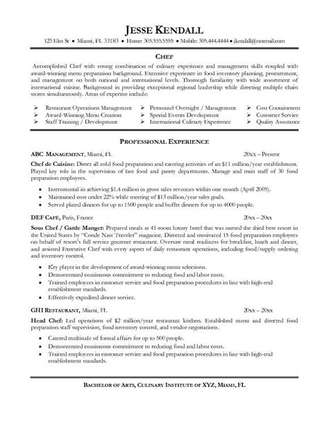 Resume Job Title Format by Good Chef Resume Examples Resume Is Needed By Almost Job