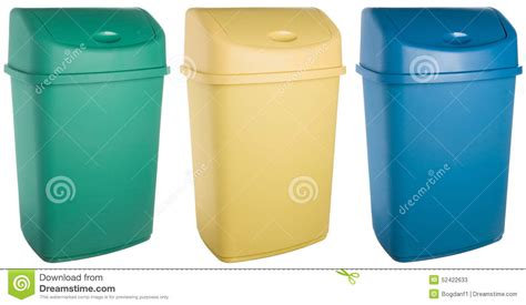 colored trash cans colored plastic selective trash can stock photo image