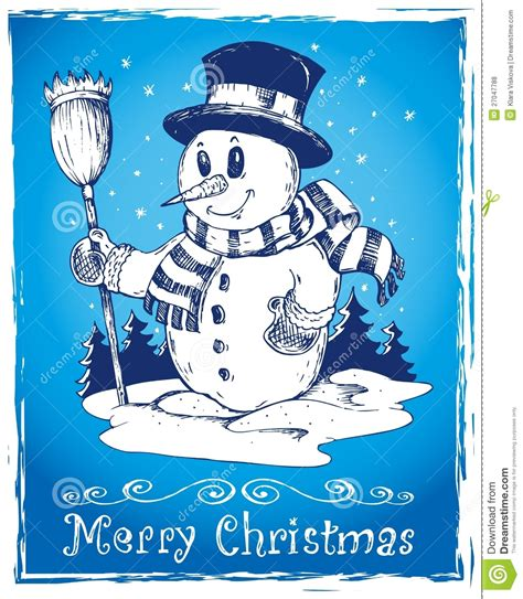 winter themed drawing winter snowman theme drawing 3 royalty free stock photos