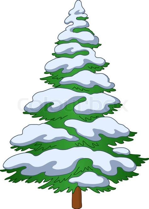 weihnachtsbaum mit schnee vektorgrafik colourbox