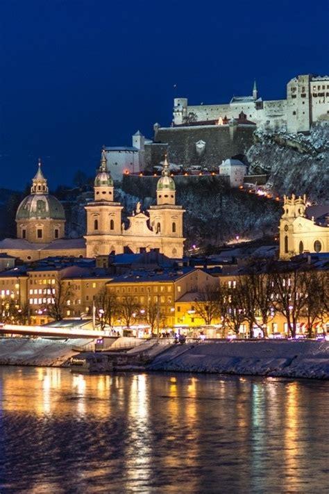 wallpaper city night salzburg austria river winter