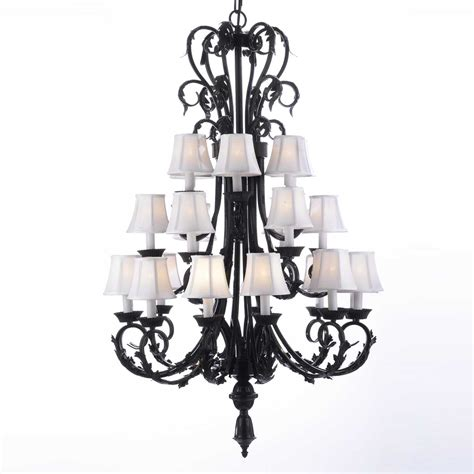 A84 Sc 724 24 Large Foyer Entryway Wrought Iron Wrought Iron Chandeliers With Shades