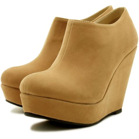 buy carissa wedge heel platform ankle boots brown