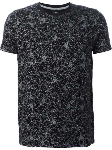 geometric pattern shirts armani jeans geometric pattern t shirt in black for men lyst