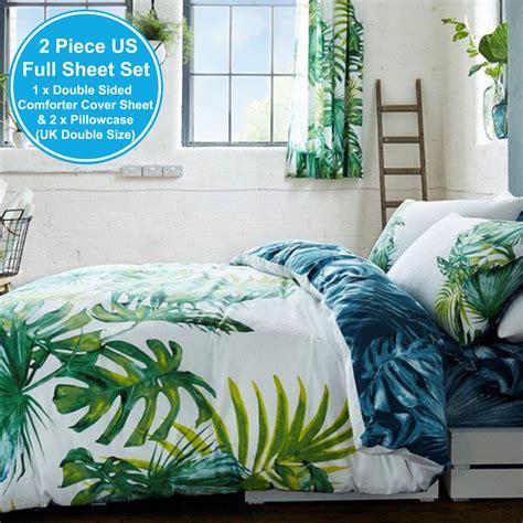 botanical palm leaves duvet cover set reversible double king size ebay