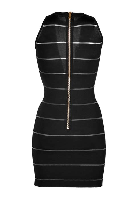 Sheer Panel Sheath Dress lyst balmain sheer panel sheath dress in black