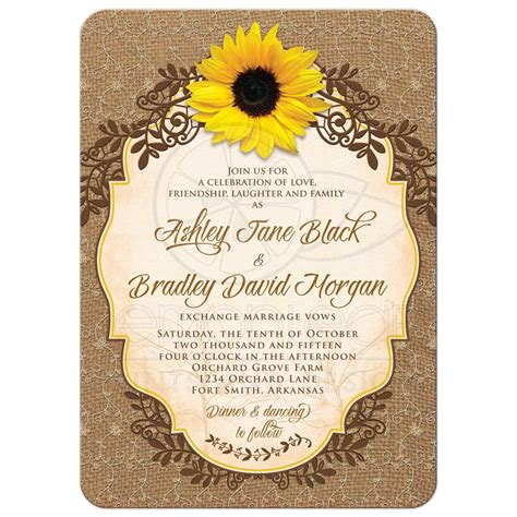 sunflower wedding invites sunflower wedding invitation rustic burlap and lace floral
