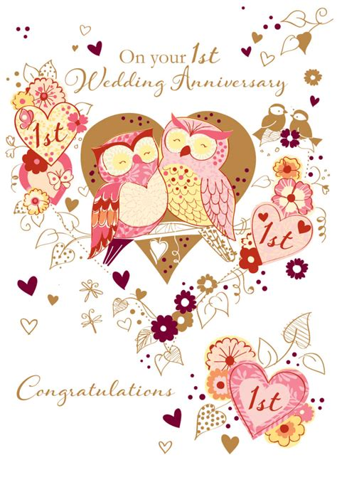 Wedding Anniversary Cards For by On Your 1st Wedding Anniversary Greeting Card Cards