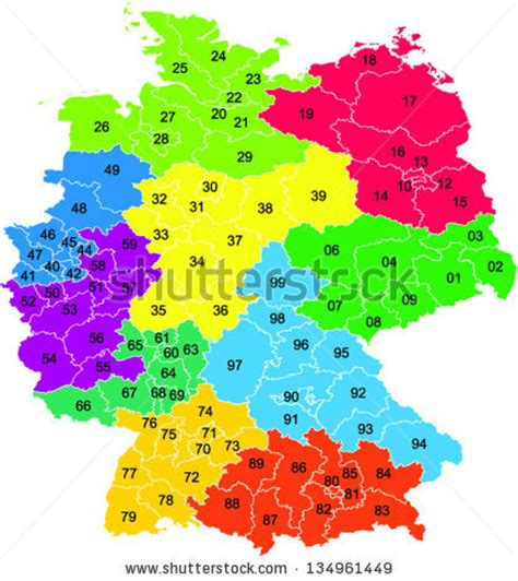 zip code map germany a colored vector map with two digit postal codes of