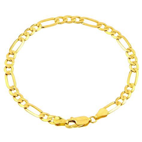 amazon jewelry amazon com 10k yellow gold figaro bracelet 8 quot link