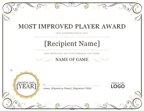 most improved certificate template 2023 most improved player continental baseball league