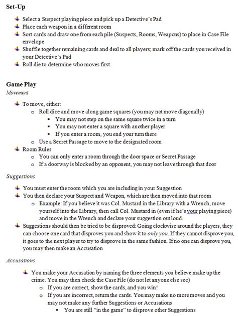 printable clue directions rules of cluedo card game peretdown