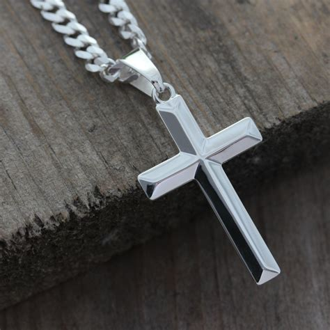 Sterling Silver Cross Pendant sterling silver cross necklace unisex sterling silver
