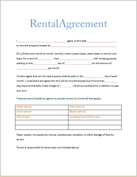 printable house rental agreement free printable rental agreements real estate forms