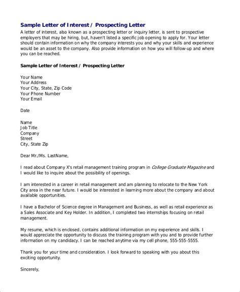letters interest sample format