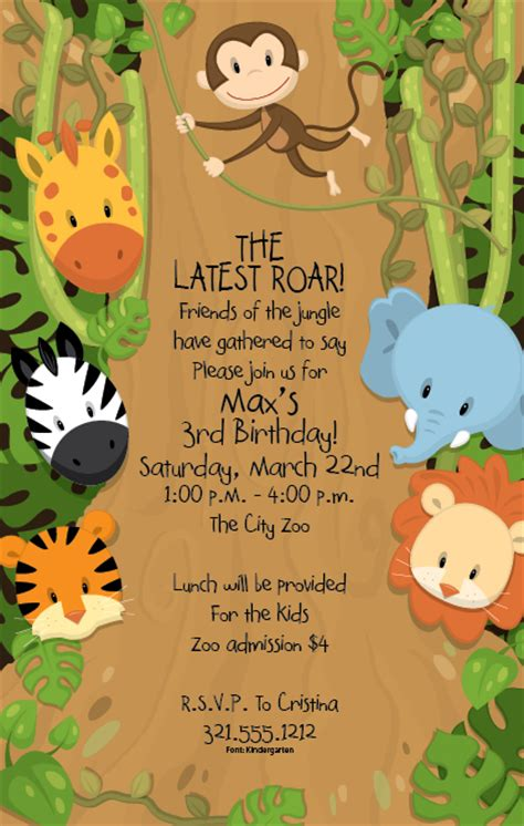 Around the jungle invitation a fun animal themed invitation this is