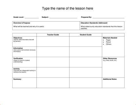 weekly lesson plan template doc lesson plan template doc plan template