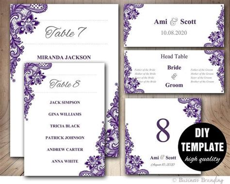 purple place cards template purple lace wedding seating chart template wedding place