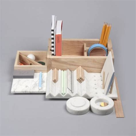 Wood And Marble Home Organizer With Small Spaces For Storage Designer Desk Organizer