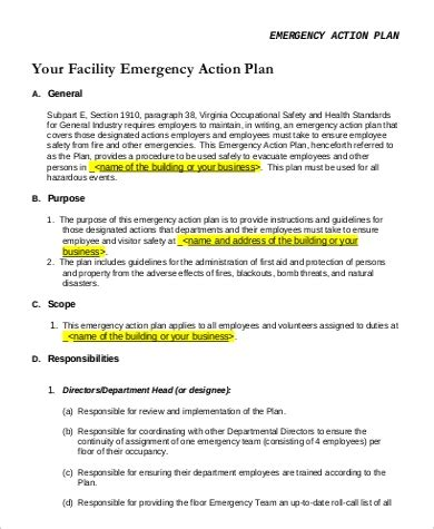 guide on emergency action plan template projects to try