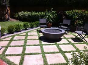 outdoor fire pit with concrete grass pavers modern patio orange county by california
