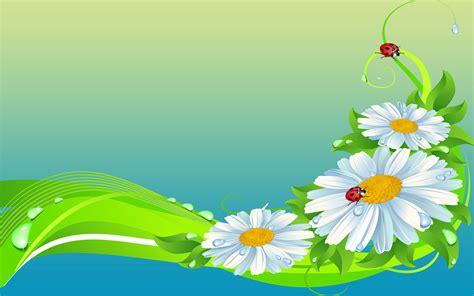 Imagenes Wallpaper Gratis | sunflower ladybug leaf drop vector flower wallpapers
