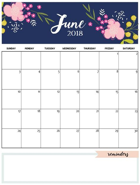 blank june 2018 calendar template printable printable 2017 calendar